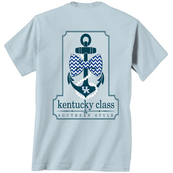 UK Kentucky Wildcats Big Blue Southern Anchor Bow Comfort Colors Bright T Shirt