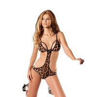 Be Wicked BW1349 1 Piece Leopard print bodysuit Teddy with cutout sides
