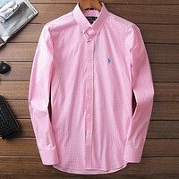 Polo Men Fashion Casual Long Sleeve V-Neck Shirt