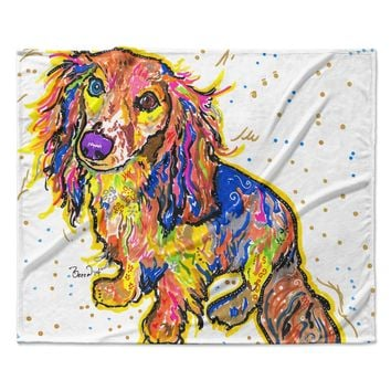 "Rebecca Fischer ""Leela"" Daschund Fleece Throw Blanket"