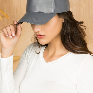 Vegan Leather Baseball Cap (Gray)