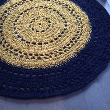 "40"" - 100cm, Custom Mad Woman Rug/Crochet Rug/Rugs/Rug/Area Rugs/Floor Rugs/Large Rugs/Handmade Rug/Wool rug/dirty yellow/navy blue/"