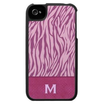 Pink Zebra Print Custom Name iPhone 4 Cases from Zazzle.com