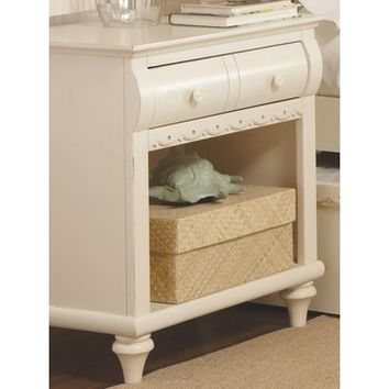 My Home Emily 1 Drawer Nightstand In Khaki White
