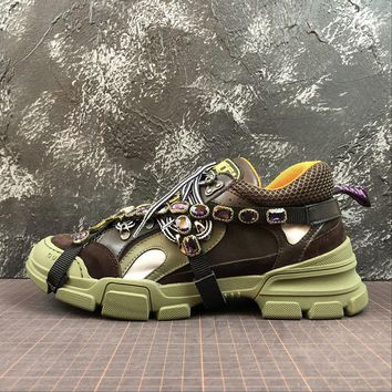 Gucci Flashtrek Leather Sneaker With Crystals Green - Best Online Sale