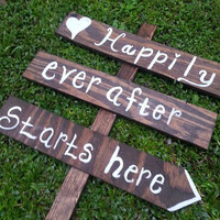 Happily Ever After Starts Here - Personalized Wedding Signs - CUSTOM, PERSONALIZED, WEDDING arrow sign, road sign