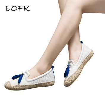 EOFK Shoes Woman 2018 Leather Women Shoes Flats Loafers Slip On Women's Flat Fringe Handmade Comfortable Shoes Moccasins