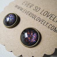 meteor shower - black and silver green and red starry night handmade sparkly metallic nickel free post earrings