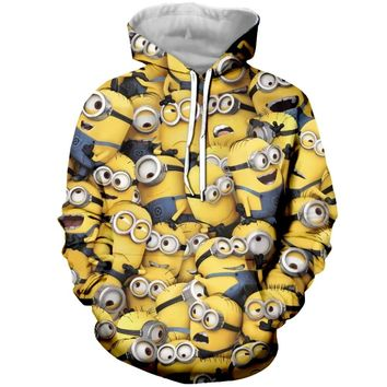 PLstar Cosmos 3d Fashion Cute Minion Printed Hoodie for Women Men Fashion Zipper Hoodies/Sweatshirt/Tees Unisex Clothes
