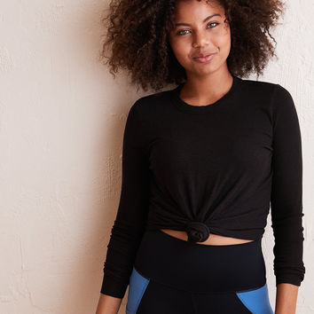 Aerie Real Soft® Ribbed Long Sleeve Tee, True Black