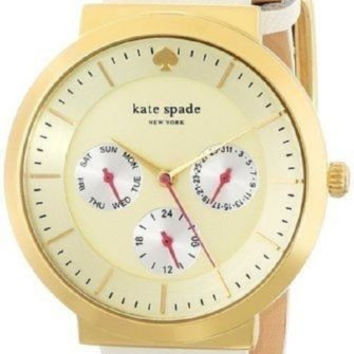 NWT KATE SPADE WHITE LEATHER GOLD CHRONOGRAPH WATCH 1YRU0512
