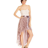 Teeze Me Juniors Dress, Strapless Ruffled Glittered High-Low - Prom Dresses - Macy's