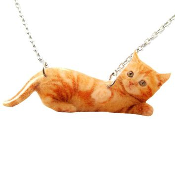 Realistic Baby Tabby Kitty Cat Shaped Pendant Necklace in Orange | Handmade