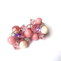 Pink Rhinestone Beaded Cluster Clip On Earrings Dainty Pastel Fashion Jewelry