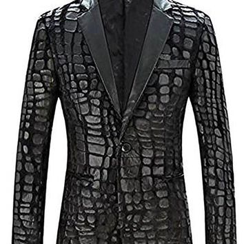 ICIKH0D Slim Fit Blazer Men  New Brand Casual Faux Leather Spliced Velvet Suit Fashion Pieces De Men Jacket Suit