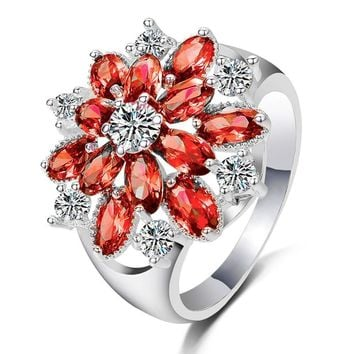 New Women Full Diamond Filed Red Flowers Wedding Engagement Floral Ring