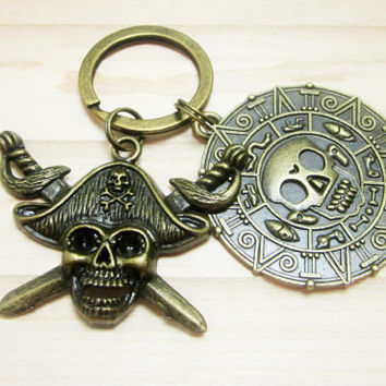 Pirate Keychain Pirate Medallion Key Chain Mens Boat Keys Pirate Skull Charm Swords Bronze Charms