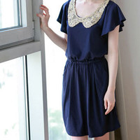 Bling Chips Accent Large Collar Cap Sleeves Dark Blue Dress