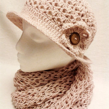 Hat and Scarf set - Light Pink crochet hat and kinitting Infinity scarf