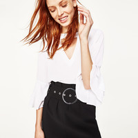 BLOUSE WITH FRILLED SLEEVE Off-white - S