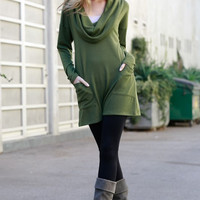 City Chic Cowl Neck Tunic Top - Olive