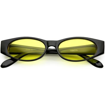 Extreme Thick Oval Sunglasses Color Tinted Lens 53MM