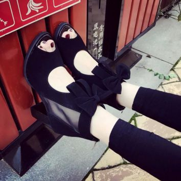 6cm heel Bowie shoes spring leisure women Open Toe summer female black girl sandals fashion slide women for girls