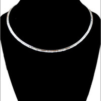Hammered Round Silver Choker