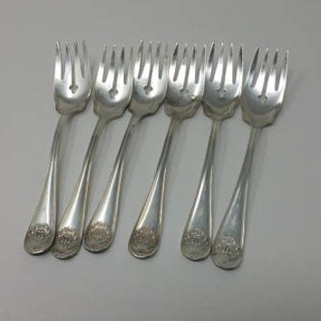 Antique Silverplate Dessert Forks Wm Rogers Son AA Royalty King Crown Pattern Set of Six