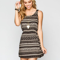 Patrons Of Peace Ethnic Print Dress Black  In Sizes