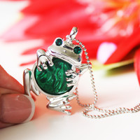Frog Necklace- Gemstone Necklace Malachite Necklace Birthstone Necklace Gems Swarovski