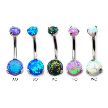 Titanium Prong Set Double Synthetic Opal Navel Curves