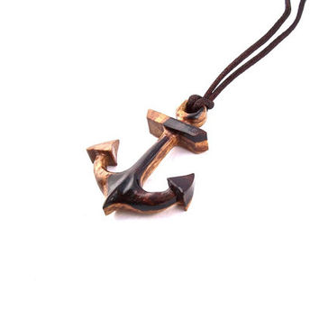 Mens Necklace, Anchor Pendant Necklace, Wooden Anchor Pendant, Wood Anchor Necklace, Anchor Jewelry, Carved Wood Anchor, Wood Anchor Pendant