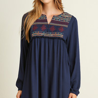 A-Line Embroidered Peasant Dress