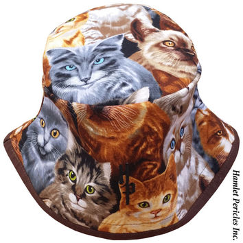 Cats Allover Unisex Bucket Hat | Cat Hat | Cats | Kittens | Brown Hat | Brown Brim | Feline | Collage | Kitten Bucket Hat by Hamlet Pericles