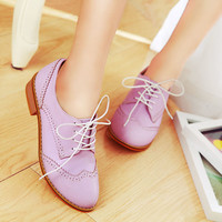 Womens Low Heel Plus Size New Vintage College Comfort Dress Lace Up Oxford Shoe