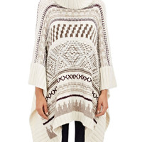 Geometric Print Long Sleeve Knitted Sweater