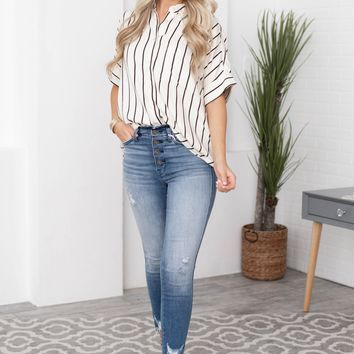 Shantell Cuff Sleeve Pocket Stripe Top
