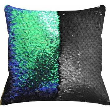 "Mainstays Reversible Sequin Decorative Throw Pillow 17""x17"", Teal - Walmart.com"