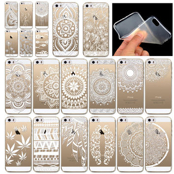 Soft Phone Case Cover for iphone 5 5s SE Hollow Beautiful Flowers Dream Catcher Pattern Rubber Silicone Fundas Mobile Phone Bag
