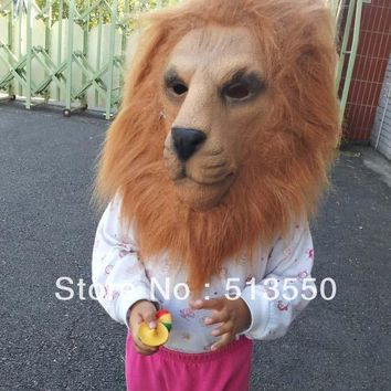 3/4 full head Adult Latex Lion  Costume Halloween mask with hair