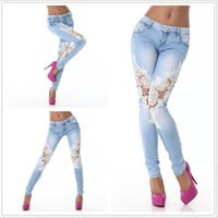 Light Blue Lace Panel Denim Pants