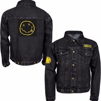 Nirvana Smiley Patch Licensed Adult Denim Jacket