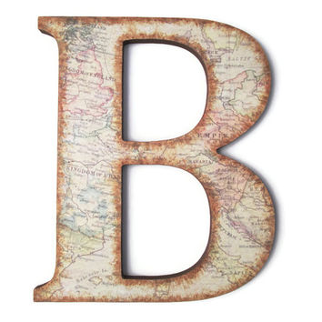 Decorative Wall Letter B with vintage European map and distressed edges, masculine den decor, travel decor