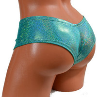 Jade Hologram Mystique Lycra Spandex Lowrise Ultra Cheeky Booty Shorts