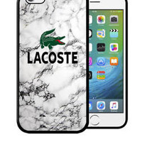 Top Lacoste2018Logo Marble Fit Hard Case For iPhone 6 6s 7 8 Plus X Cover +