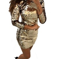 Hot sale Sequins Dress Women Party Solid Slim Clothes Fall Spring Long sleeve Round Collar Bodycon Pencil short vestidos