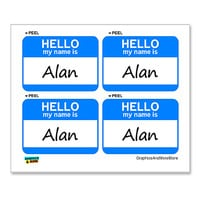 Alan Hello My Name Is - Sheet of 4 Stickers