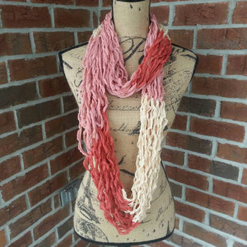Color block Arm knitted infinity scarf, rose and pink scarf, dainty scarf, knit scarf, lightweight cowl, all season arm knit scarf