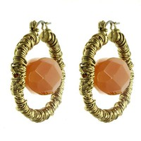 Orange Hoop Brass Earring